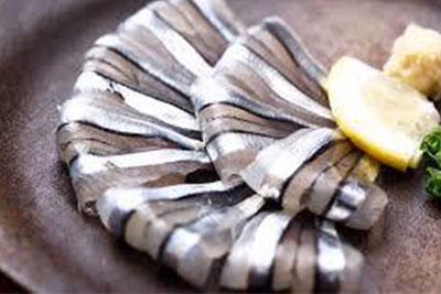 Japanese round herring sashimi